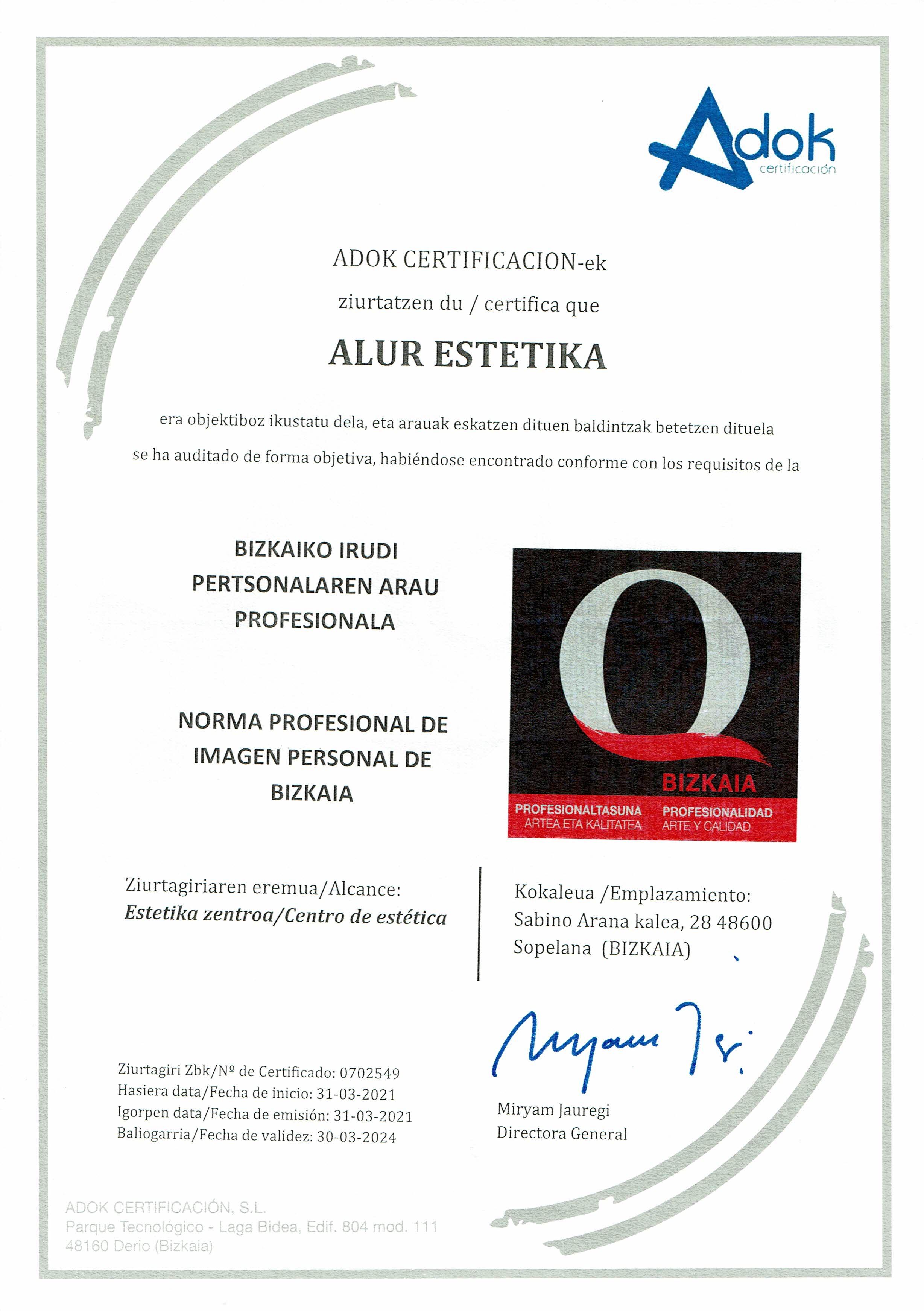 Certificado Q de Calidad